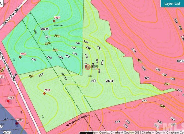 美国北卡罗莱纳州梅林蒙丘尔总占地57587平方米的土地