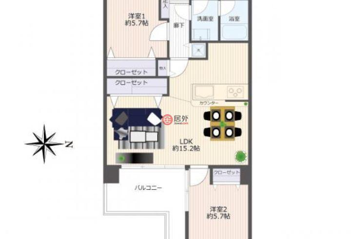 日本Fukuoka Prefecture福冈市的公寓,荒戸1−2−2,编号59952943