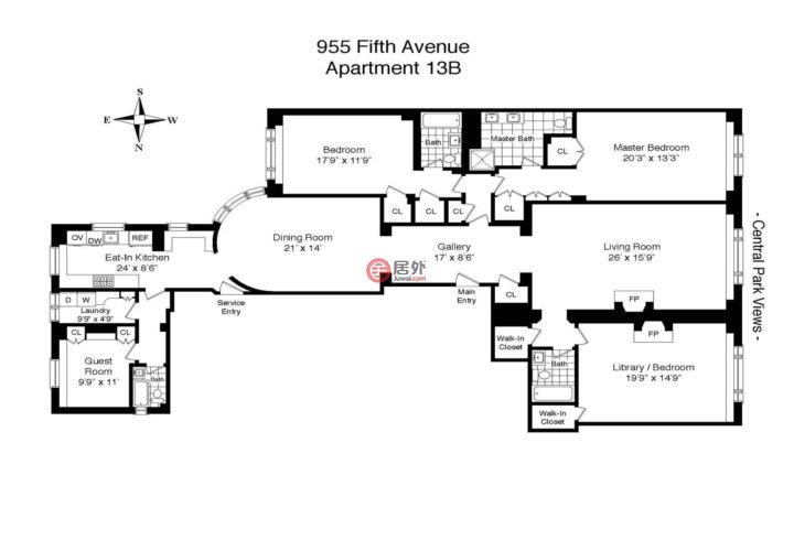 美国纽约州纽约的房产,955 Fifth Avenue 13B,编号45807748